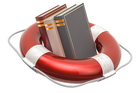 Lifebuoy with books, 3D rendering isolated on white background