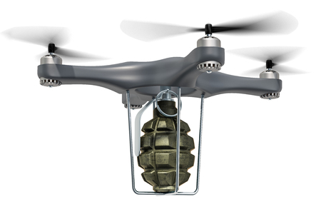 Military Drone with hand grenade, 3D rendering isolated on white background