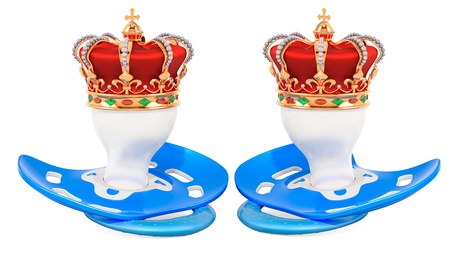 Royal twins concept. Two blue pacifiers with golden crown. 3D rendering isolated on white background