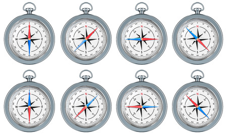 Set of Magnetic Compasses with cardinal and intercardinal directions, 3d rendering isolated on white background