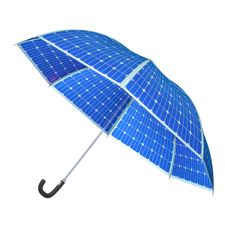 Umbrella with Solar Panels, 3D rendering isolated on white background
