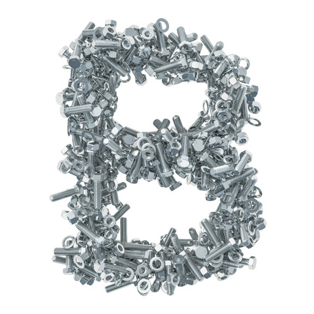 Alphabet letter B from bolts, nuts and washers. 3D rendering isolated on white background Stock fotó