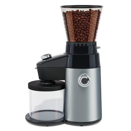 Moulin à café électrique avec grains de café, rendu 3D isolé sur fond blanc