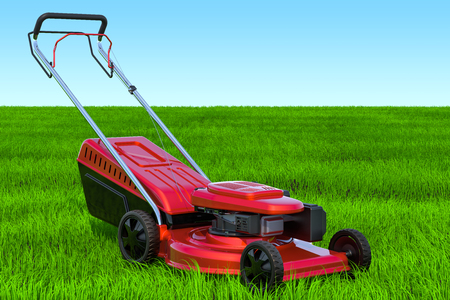 Lawn mower in the green grass against blue sky, 3D rendering