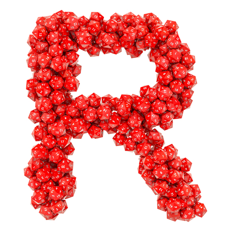 Alphabet letter R from red twenty-sided dice, 3D rendering isolated on white background