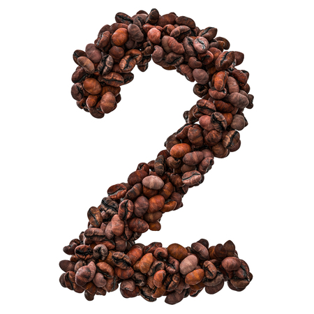 Number 2 from roasted coffee beans, 3D rendering isolated on white background
