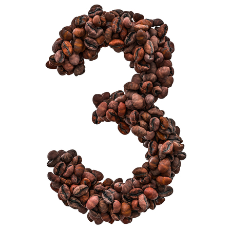 Number 3 from roasted coffee beans, 3D rendering isolated on white background 스톡 콘텐츠