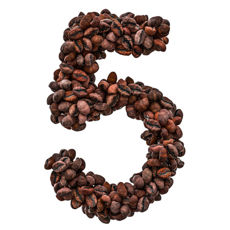 Number 5 from roasted coffee beans, 3D rendering isolated on white background Stock Photo