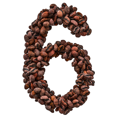 Number 6 from roasted coffee beans, 3D rendering isolated on white background