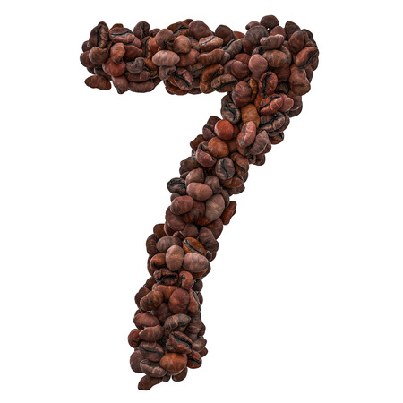 Number 7 from roasted coffee beans, 3D rendering isolated on white background
