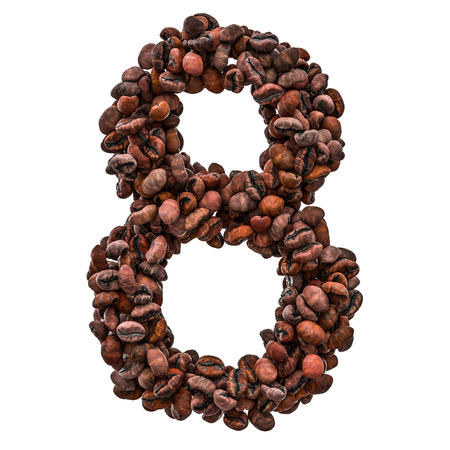 Number 8 from roasted coffee beans, 3D rendering isolated on white background