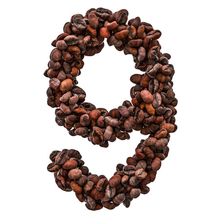 Number 9 from roasted coffee beans, 3D rendering isolated on white background