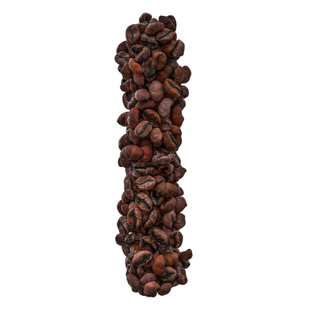 Alphabet letter I from roasted coffee beans, 3D rendering isolated on white background Banco de Imagens