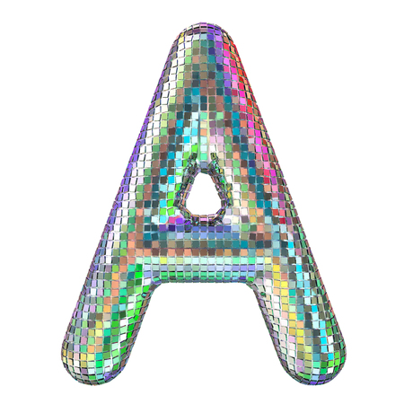 Disco font, letter A from glitter mirror facets. 3D rendering isolated on white background Stock fotó