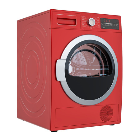 Modern red clothes dryer, 3D rendering isolated on white background Banco de Imagens