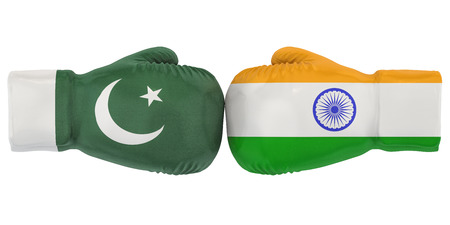 Boxing gloves with India and Pakistan flags. Political or war conflict concept, 3D rendering Reklamní fotografie