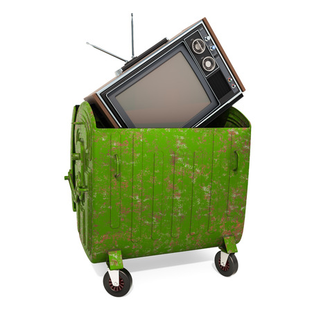 End of analog TV era concept, 3D rendering isolated on white background  Banco de Imagens