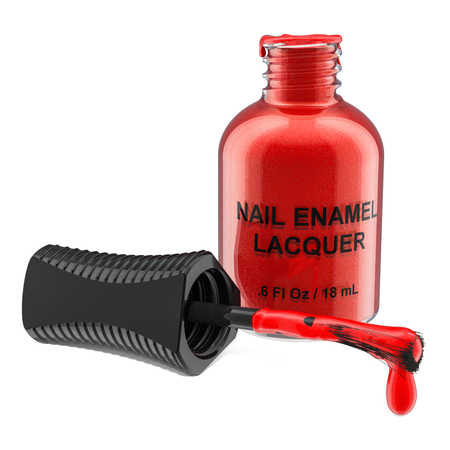 Opened red nail polish bottle, 3D rendering isolated on white background