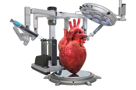 Robotic surgery of the heart concept, 3D rendering isolated on white background Stock Photo - 118573536