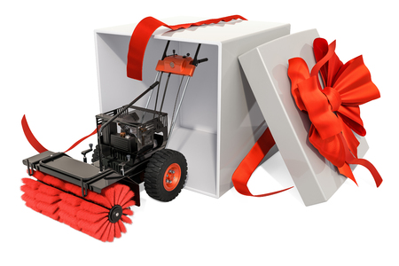 Snow blower, 3D rendering isolated on white background