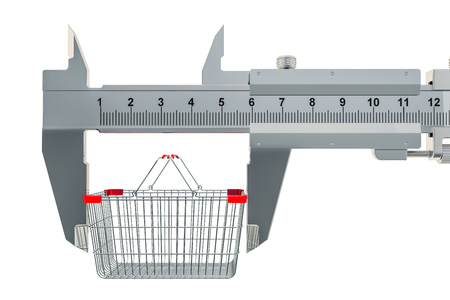 Vernier caliper with shopping basket. Size of market basket or purchasing power concept, 3D rendering Imagens