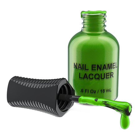 Opened green nail polish bottle, 3D rendering isolated on white background