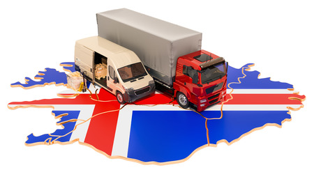 Shipping and Delivery in Iceland, 3D rendering isolated on white background