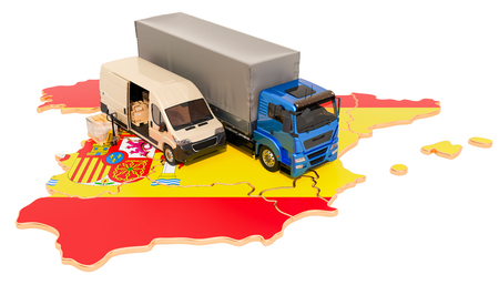 Shipping and Delivery in Spain, 3D rendering isolated on white background