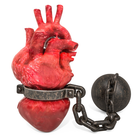 Heart Pain concept. Human heart with shackle. 3D rendering isolated on white background