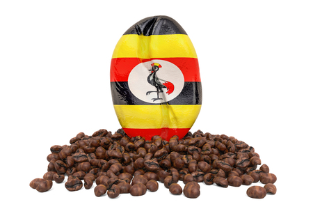 Coffee production in Uganda concept, 3D rendering isolated on white background