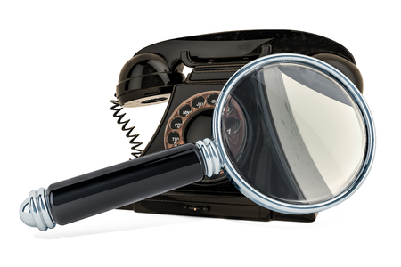 Phone with magnifying glass. 3D rendering isolated on white background Zdjęcie Seryjne
