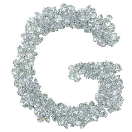 Diamond font, letter G from diamonds. 3D rendering isolated on white background