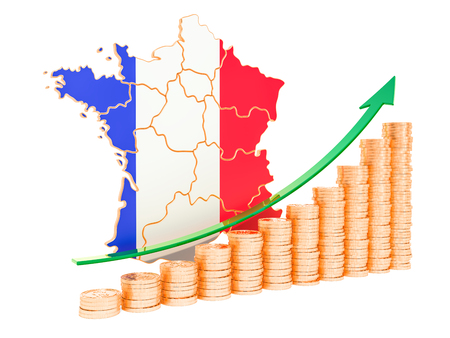 Economic growth in France concept, 3D rendering isolated on white background
