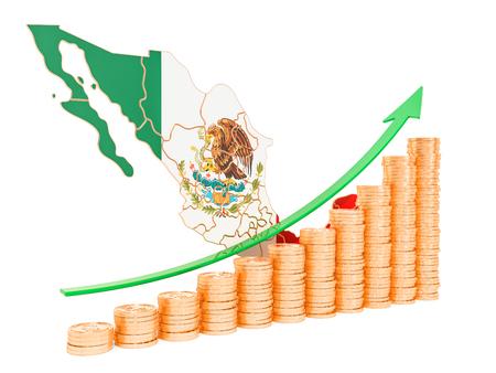 Crescita economica nel concetto di Messico, rendering 3D isolato su sfondo bianco