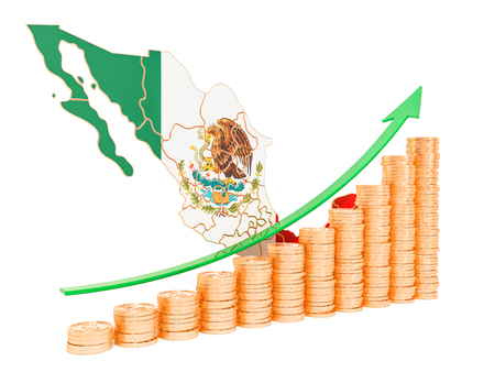 Economic growth in Mexico concept, 3D rendering isolated on white background