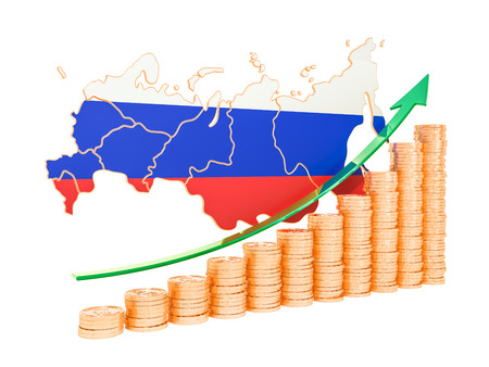 Economic growth in Russia concept, 3D rendering isolated on white background