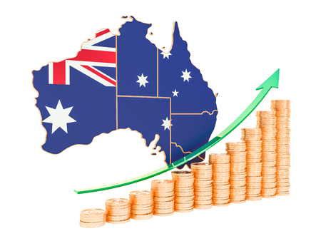 Economic growth in Australia concept, 3D rendering isolated on white background