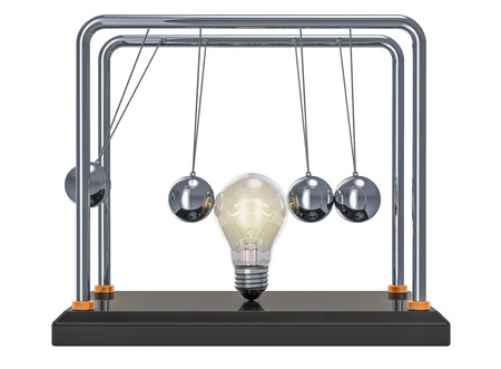 Pendulum with lightbulb, 3D rendering isolated on white background