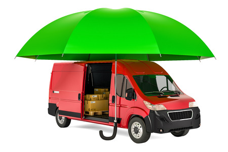 Commercial delivery van under umbrella, insurance and protect freight shipping concept. 3D rendering Reklamní fotografie