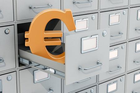 Euro symbol in filing cabinet, 3D rendering Archivio Fotografico