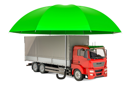 Lorry truck under umbrella, insurance and protect freight transportation concept. 3D rendering