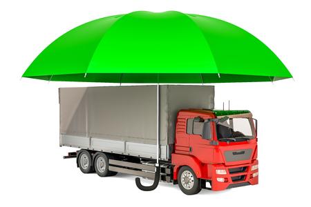 Vrachtwagenvrachtwagen onder paraplu, verzekering en bescherm vrachtvervoerconcept. 3D-rendering