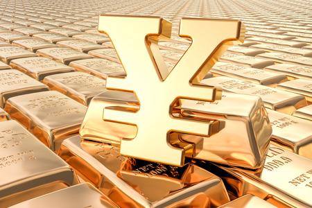 Background from gold ingots with yen or yuan symbol, 3D rendering Reklamní fotografie