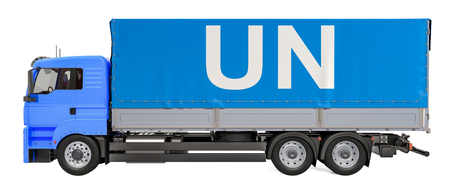 Humanitarian cargo from UN concept. Truck with UN flag, 3D rendering