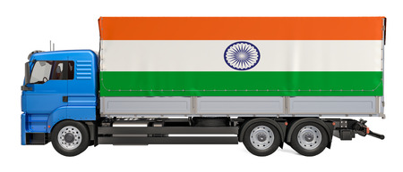 Cargo Delivery in India, 3D rendering isolated on white background