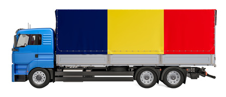 Cargo Delivery in Romania, 3D rendering isolated on white background Foto de archivo