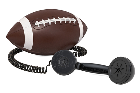 Telephone receiver with american football ball, 3D rendering isolated on white background Banco de Imagens