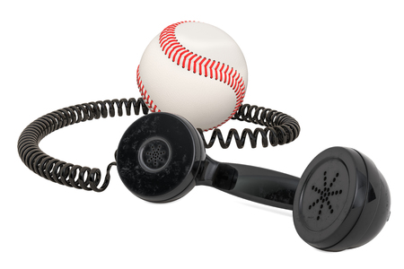 Telephone receiver with baseball ball, 3D rendering isolated on white background