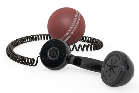 Telephone receiver with cricket ball, 3D rendering isolated on white background Banco de Imagens