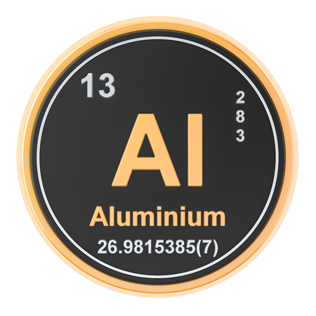 Aluminium Al chemical element. 3D rendering isolated on white background Reklamní fotografie
